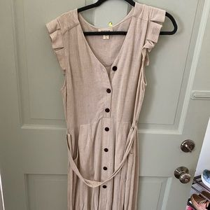 Tan Mid Length Dress with Brown Buttons